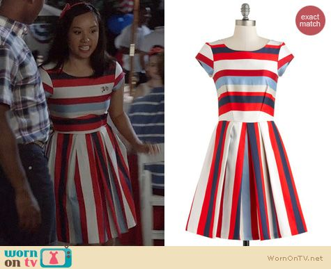 The Carrie Diaries Style: ModCloth Nautical in the World Dress worn by Ellen Wong