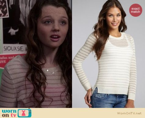 The Carrie Diaries Style: Rebecca Taylor Cashmere metallic striped sweater worn by Stefania Owen