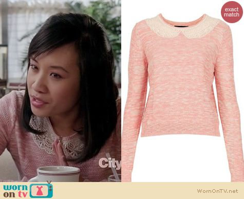 The Carrie Diaries Style: Topshop lace collar jumper in pink worn by Ellen Wong
