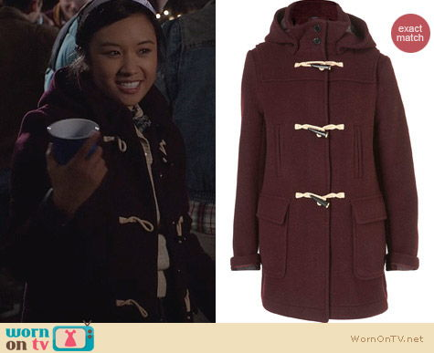 The Carrie Diaries Style: Topshop Burgundy Toggle Coat worn by Ellen Wong