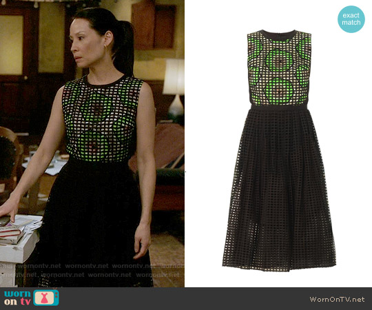 Carven Broderie Anglasie Kiwiprint Dress worn by Lucy Liu on Elementary