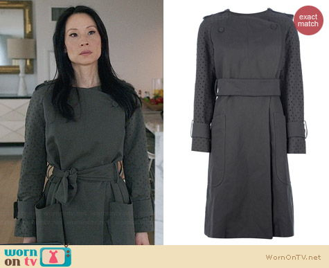 Carven Belted Coat worn by Lucy Liu on Elementary
