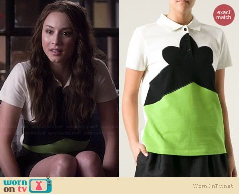 Carven Color Block Polo Shirt worn by Troian Bellisario on PLL