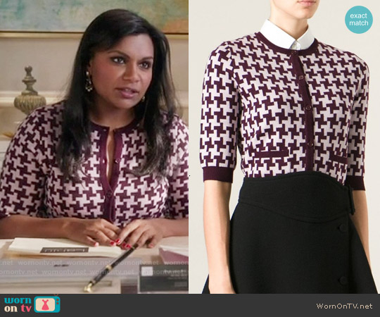 Carven Houndstooth Pattern Cardigan worn by Mindy Kaling on The Mindy Project