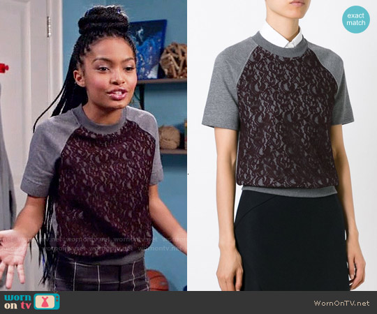 Carven Lace Panel Shortsleeved Sweatshirt worn by Yara Shahidi on Blackish