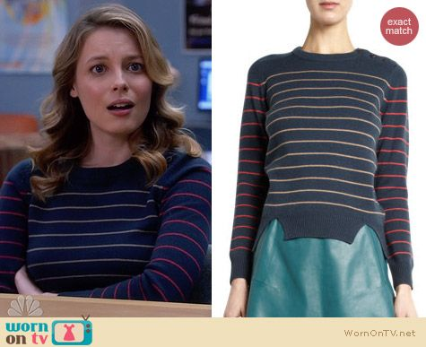 Carven multi stripe knit sweater worn by Gillian Jacobs on Community