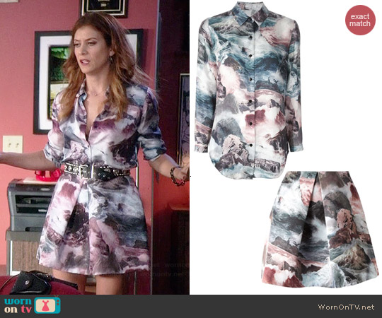 Carven Ocean Storm Print Shirt and Skirt worn by Kate Walsh on Bad Judge