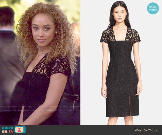 Carven Short Sleeve Lace Sheath Dress worn by Chaley Rose on Nashville