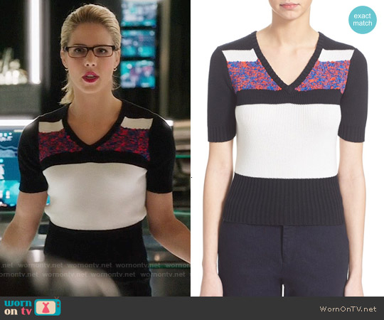 Carven Short Sleeve V-neck Sweater worn by Emily Bett Rickards on Arrow