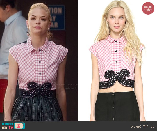 Carven Small Check Poplin Top worn by Jaime King on Hart of Dixie