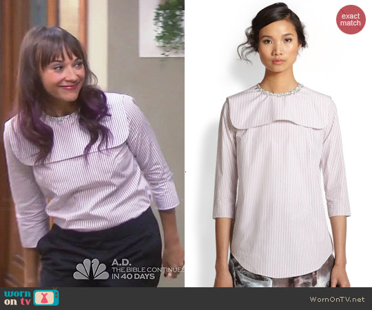Carven Striped Cotton Bib-Paneled Shirt worn by Rashida Jones on Parks & Recreation
