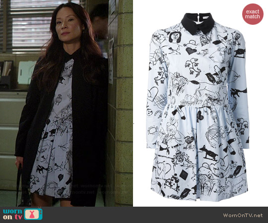 Carven Tattoo Dress worn by Lucy Liu on Elementary
