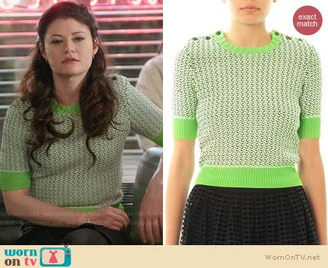 Carven Tweed Stitch Crop Sweater in Kiwi worn by Emilie de Ravin on OUAT