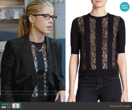 Carven Wool Lace Panel Sweater worn by Felicity Smoak on Arrow