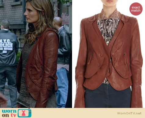 Castle Fashion: O'2nd leather jacket with detachable vest worn by Stana Katic