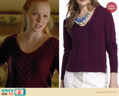 Fashion of Castle: Anthropologie Yoon Dotted & Cabled Hoodie Sweater worn by Molly Quinn