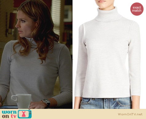 Fashion of Castle: Karen Millen Texture Knit Roll Neck Sweater worn by Stana Katic