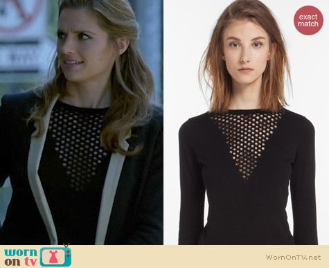 Castle Fashion: Maje Dramaturg Sweater worn by Stana Katic
