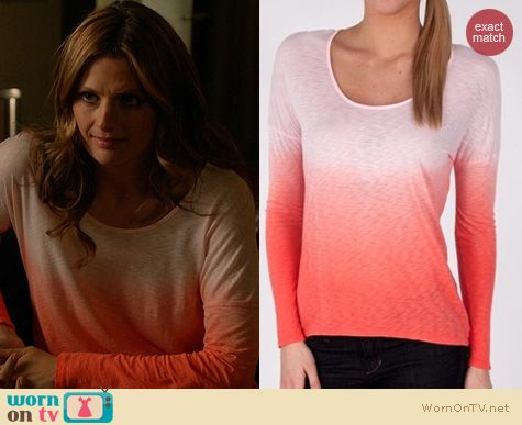 Castle Fashion: Red Haute Ombre Tee worn by Stana Katic