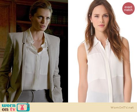 Castle Fashion: Theory Duria blouse worn by Stana Katic