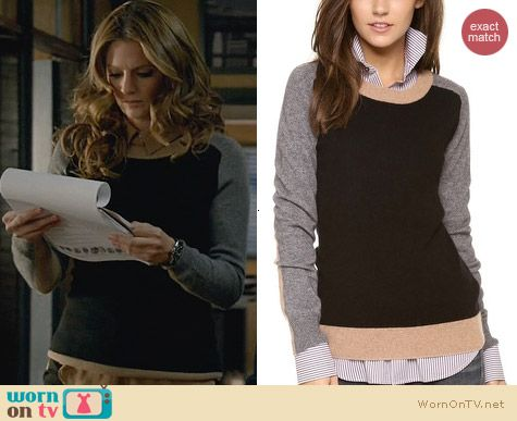 Fashion of Castle: Top Secret Boston Crewneck Sweater worn by Stana Katic