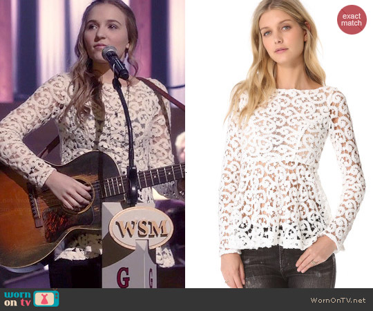 Catherine Malandrino Lalique Peplum Blouse worn by Lennon Stella on Nashville