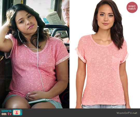 C&C California Loose Knit Roll Sleeve Tee worn by Gina Rodriguez on Jane the Virgin