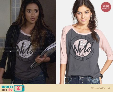 Cea + Jae Hearts Run Free Baseball Tee worn by Shay Mitchell on PLL