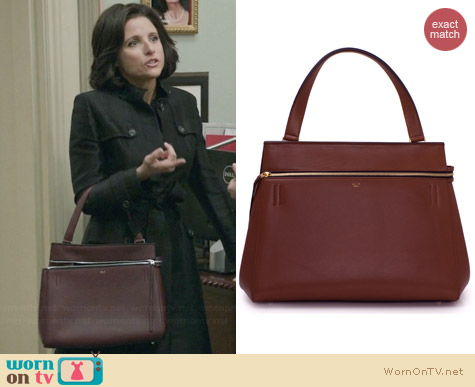 Celine Edge Tote in Burgundy worn by Julia Louis Dreyfus on Veep