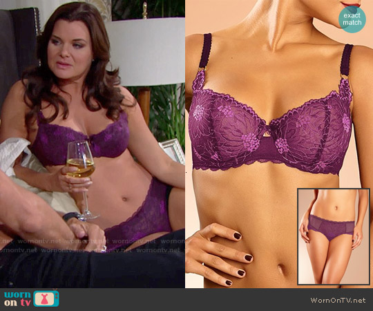 Chantelle Opéra Demi Bra and Hipster Brief in Fig / Blackberry worn by Heather Tom on The Bold & the Beautiful