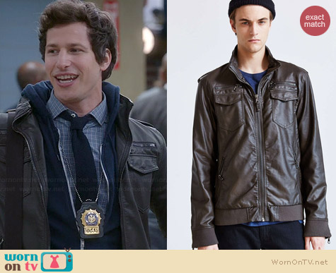 Charles & 1/2 Faux-Leather Moto Jacket worn by Andy Samberg on Brooklyn 99