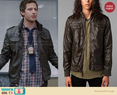 Charles & 1/2 Leather Moto Jacket worn by Andy Samberg on Brooklyn 99
