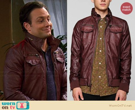 Charles & 1/2 Washed Faux Leather Jacket worn by Jonathan Sadowski on Young & Hungry