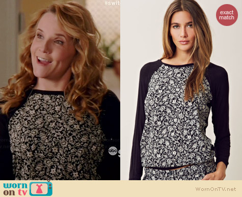 Charles Henry Raglan Floral Pullover worn by Lea Thompson on Switched at Birth