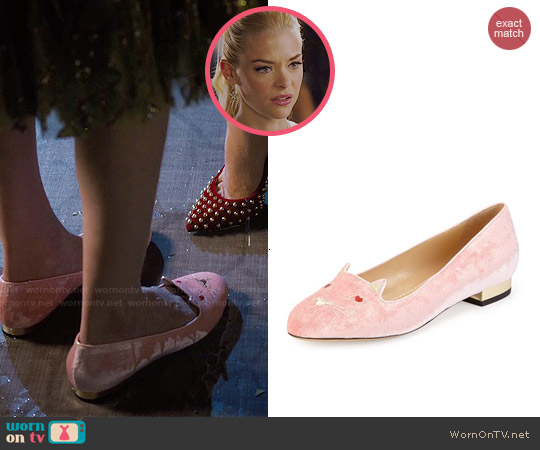 Charlotte Olympia Pink Lovestruck Kitty Velvet Slippers worn by Jaime King on Hart of Dixie