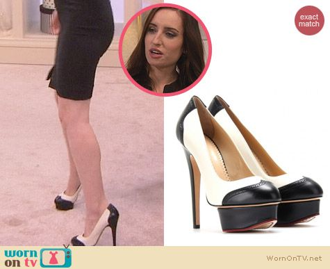 Charlotte Olympia Spectator Dolly Platform Pumps worn by Zoe Lister Jones on FWBL