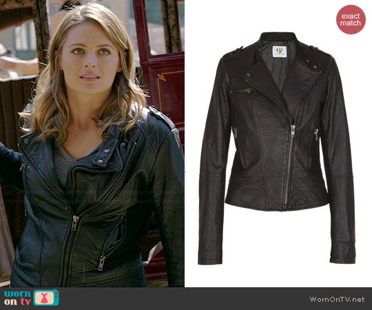 Charlotte Ronson Fashion for Relief Leather Jacket worn by Stana Katic on Castle