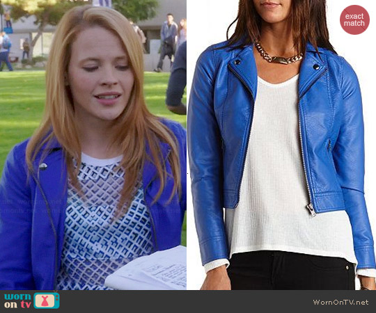 Charlotte Russe Blue Leather Moto Jacket worn by Katie Leclerc on Switched at Birth