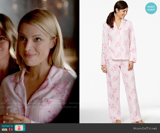 Charter Club Brushed Knit Top and Pajama Pants Set in Pink Floral worn by Teressa Liane on The Vampire Diaries