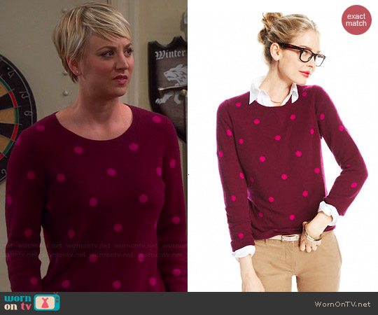Charter Club Polka Dot Cashmere Sweater in Black Cherry worn by Kaley Cuoco on The Big Bang Theory