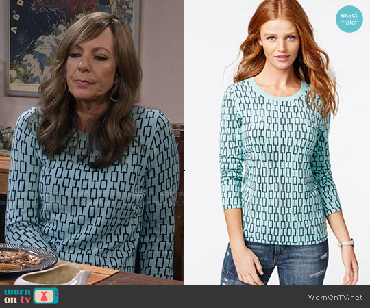 Charter Club Cashmere Chain-Print Sweater worn by Allison Janney on Mom