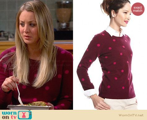 WornOnTV: Penny's burgundy sweater with pink polka dots on The Big ...