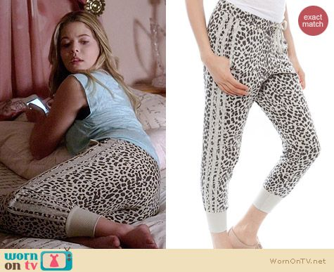 Chaser Animal Print Reverse Panel Slouchy Pants worn by Sasha Pieterse on PLL