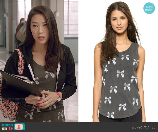 Chaser Bows Muscle Tee worn by Arden Cho on Teen Wolf