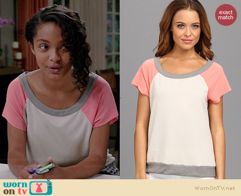 Chaser Cut Off Baseball Pullover in Peach worn by Yara Shahidi on Black-ish