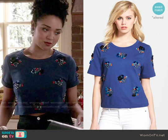 Chelsea28 Embellished Top worn by Aisha Dee on Chasing Life