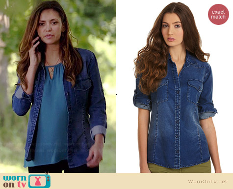 Chelsea & Violet Button-Down Chambray Shirt worn by Nina Dobrev on The Vampire Diaries
