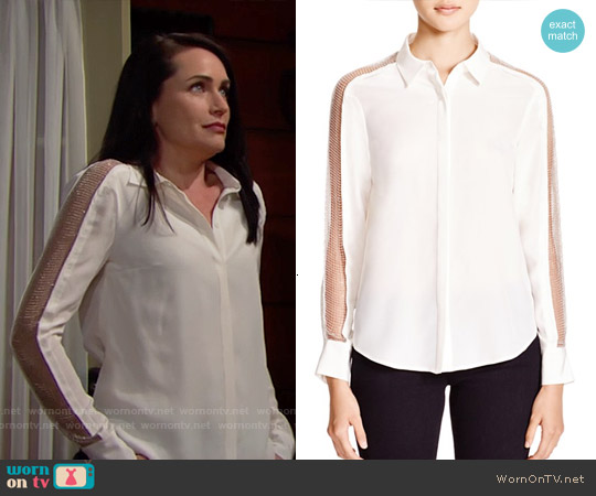 Chelsea and Walker Silk Beaded Mesh Blouse worn by Rena Sofer on The Bold & the Beautiful