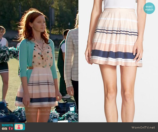 Chelsea28 Pleated Stripe Skirt worn by Cassandra Cillian on The Librarians