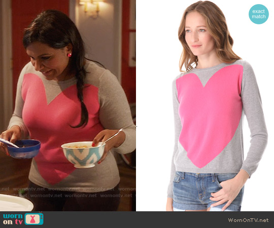 Chinti & Parker Cashmere Love Heart Sweater worn by Mindy Kaling on The Mindy Project
